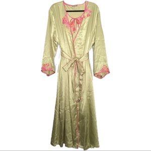 Sensara Green/Pink Satiny Matching Nightgown/Robe
